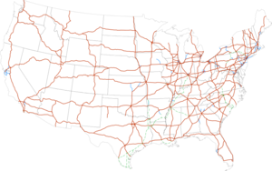 Mapa de la red de autopistas interestatales de Estados Unidos.
