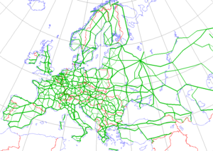Mapa de la red de carreteras europea.